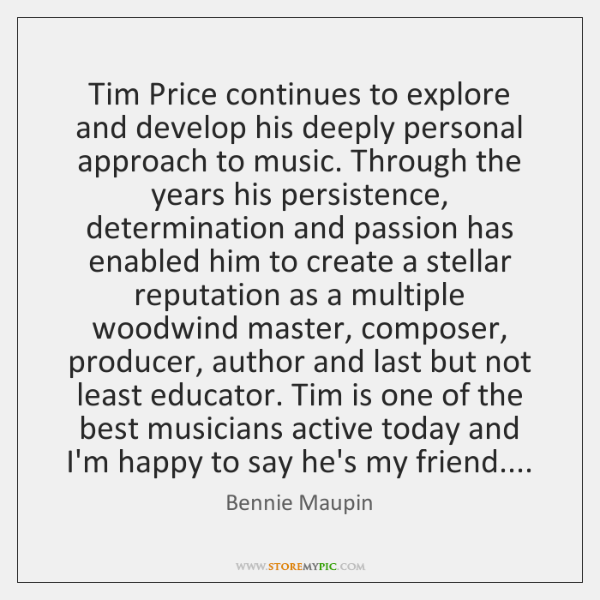Tim Price continues to explore and develop his deeply personal approach to ...