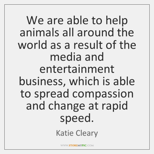 We are able to help animals all around the world as a ...