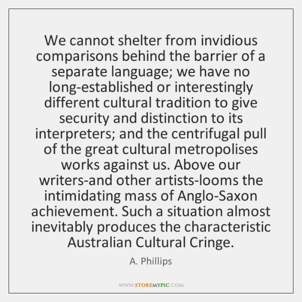We cannot shelter from invidious comparisons behind the barrier of a separate ...