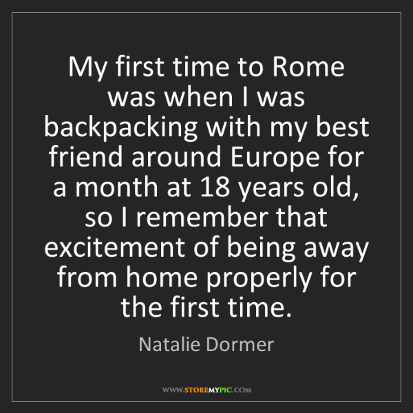 Natalie Dormer: My first time to Rome was when I was backpacking with...