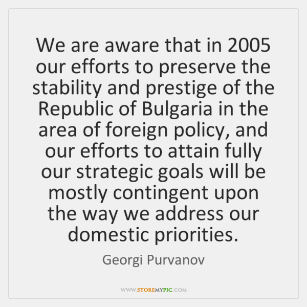 We are aware that in 2005 our efforts to preserve the stability and ...