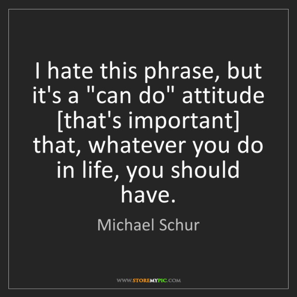 "Michael Schur: I hate this phrase, but it's a ""can do"" attitude [that's..."