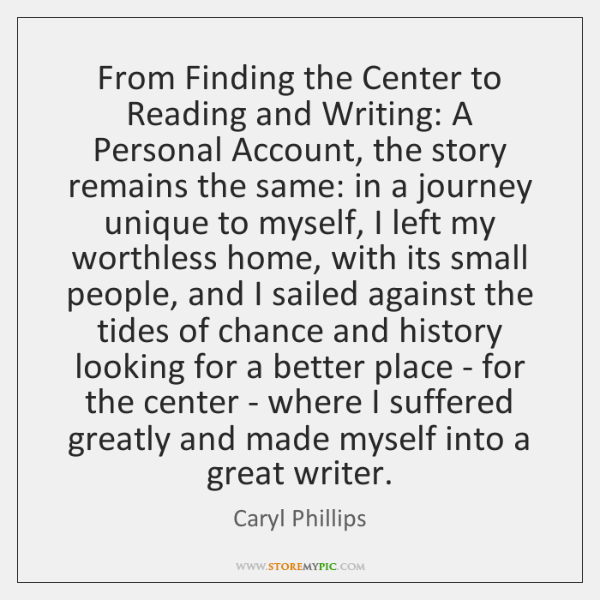 From Finding the Center to Reading and Writing: A Personal Account, the ...