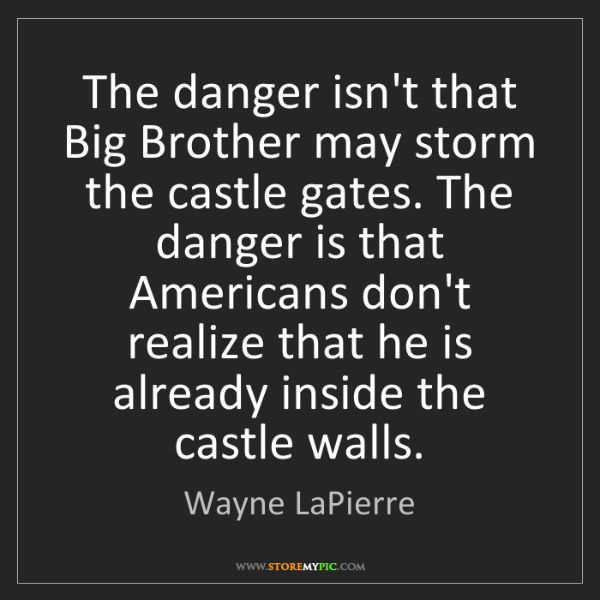 Wayne LaPierre: The danger isn't that Big Brother may storm the castle...