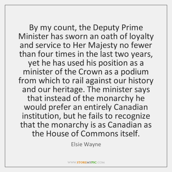 By my count, the Deputy Prime Minister has sworn an oath of ...