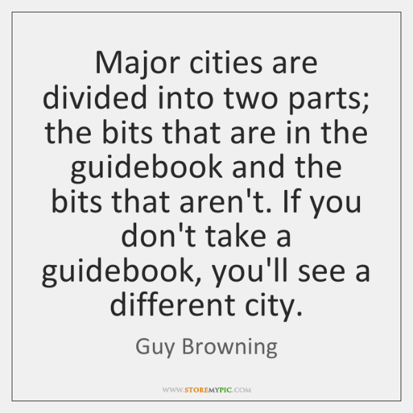 Major cities are divided into two parts; the bits that are in ...