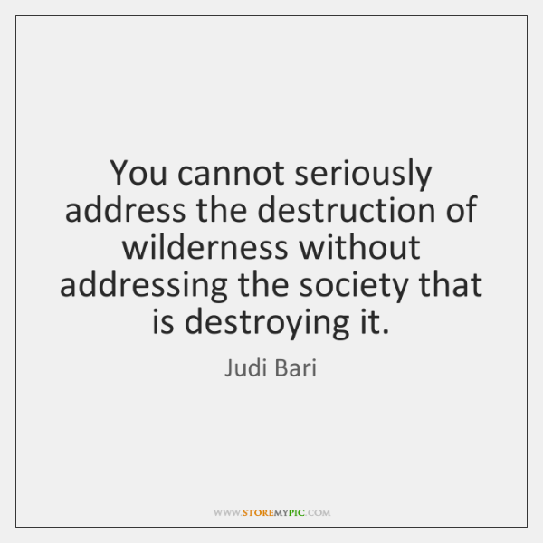 You cannot seriously address the destruction of wilderness without addressing the society ...
