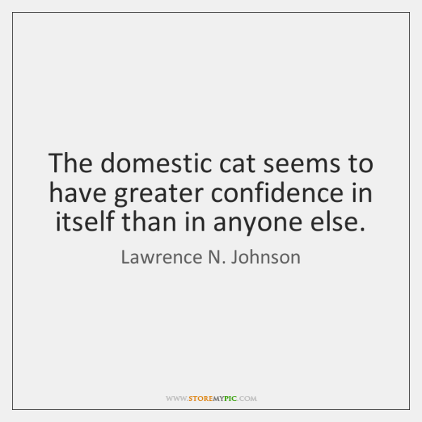 The domestic cat seems to have greater confidence in itself than in ...