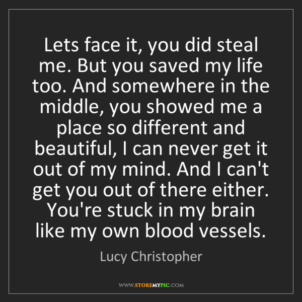 Lucy Christopher: Lets face it, you did steal me. But you saved my life...