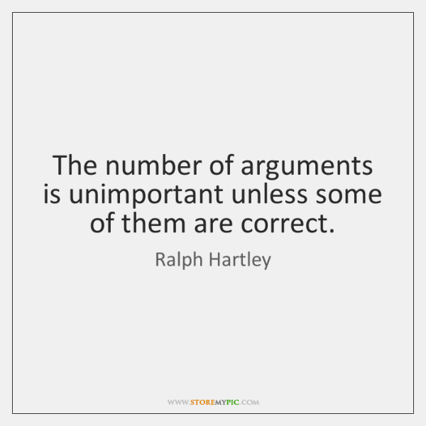 The number of arguments is unimportant unless some of them are correct.