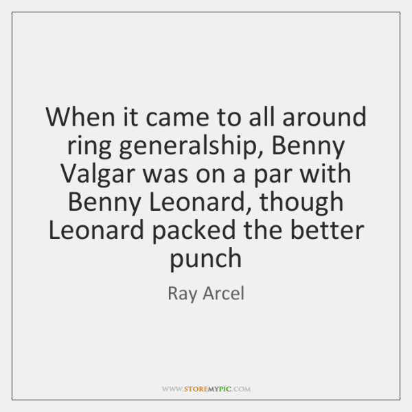 When it came to all around ring generalship, Benny Valgar was on ...