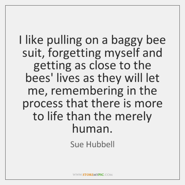I like pulling on a baggy bee suit, forgetting myself and getting ...