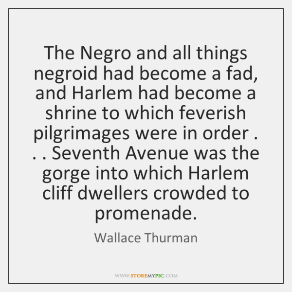 The Negro and all things negroid had become a fad, and Harlem ...
