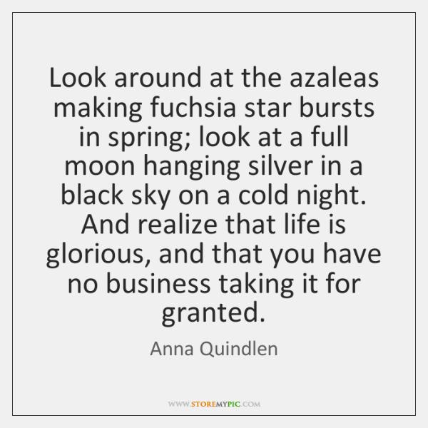 Look around at the azaleas making fuchsia star bursts in spring; look ...