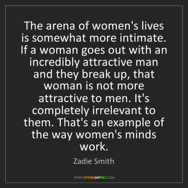 Zadie Smith: The arena of women's lives is somewhat more intimate....