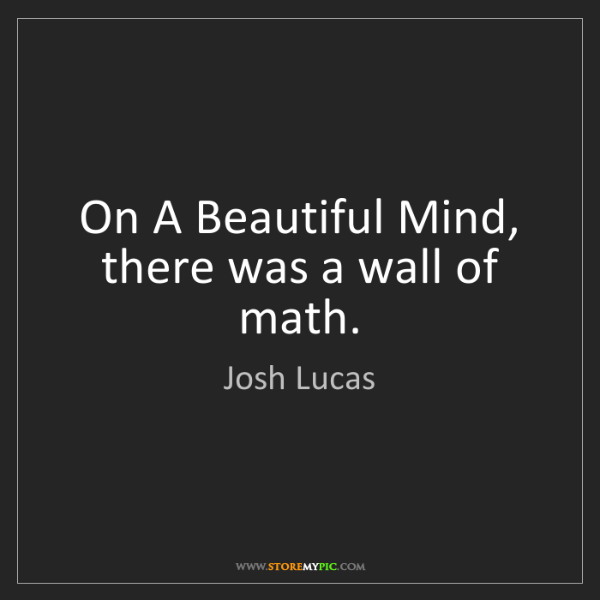 Josh Lucas: On A Beautiful Mind, there was a wall of math.