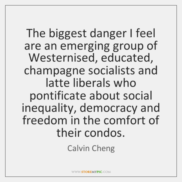 The biggest danger I feel are an emerging group of Westernised, educated, ...