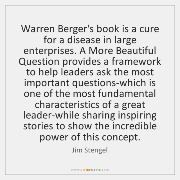Warren Berger's book is a cure for a disease in large enterprises. ...