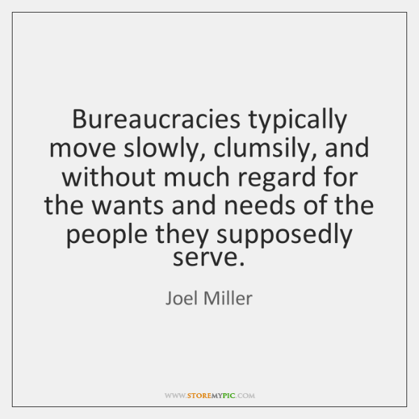 Bureaucracies typically move slowly, clumsily, and without much regard for the wants ...