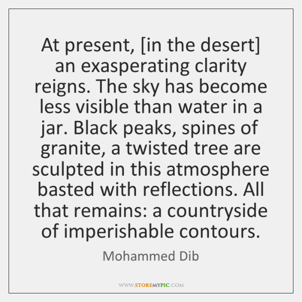 At present, [in the desert] an exasperating clarity reigns. The sky has ...