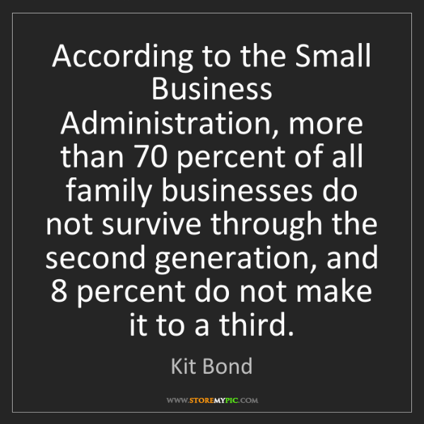 Kit Bond: According to the Small Business Administration, more...