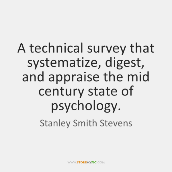 A technical survey that systematize, digest, and appraise the mid century state ...