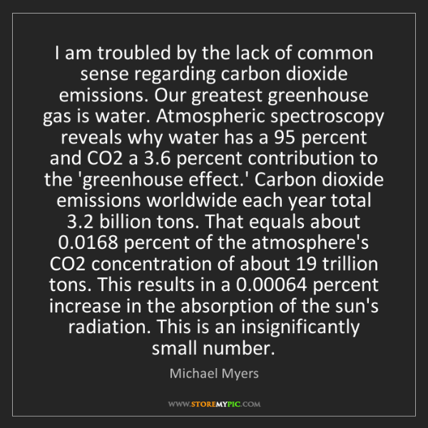 Michael Myers: I am troubled by the lack of common sense regarding carbon...
