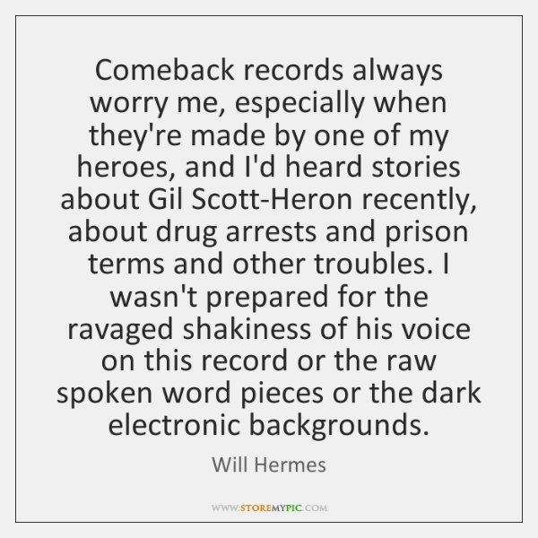 Comeback records always worry me, especially when they're made by one of ...