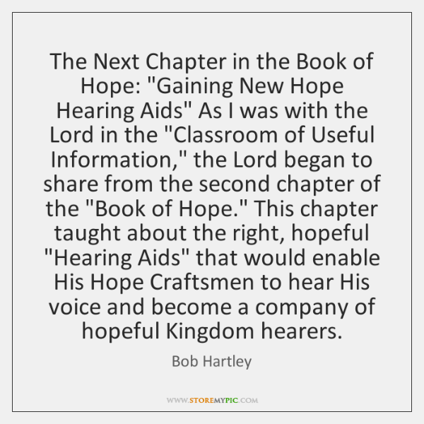 The Next Chapter in the Book of Hope: