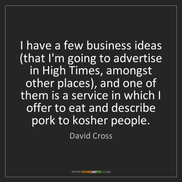 David Cross: I have a few business ideas (that I'm going to advertise...
