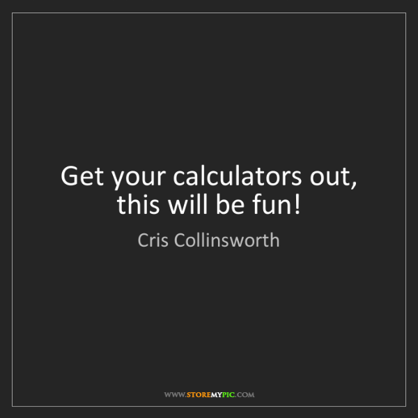 Cris Collinsworth: Get your calculators out, this will be fun!