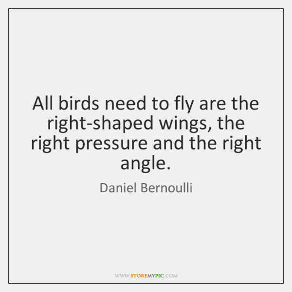 All birds need to fly are the right-shaped wings, the right pressure ...