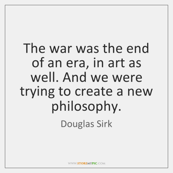 The war was the end of an era, in art as well. ...