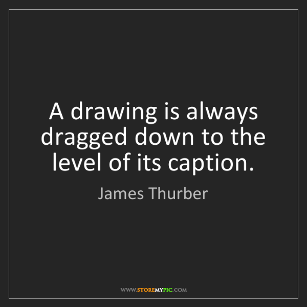 James Thurber: A drawing is always dragged down to the level of its...