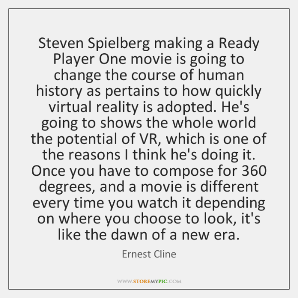 Steven Spielberg Making A Ready Player One Movie Is Going