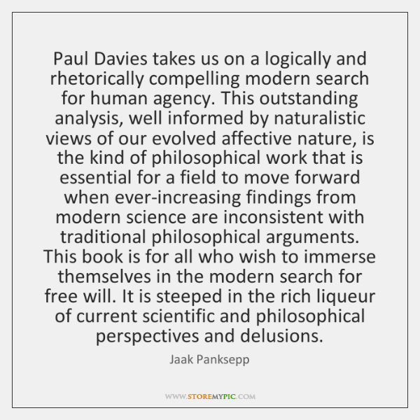 Paul Davies takes us on a logically and rhetorically compelling modern search ...
