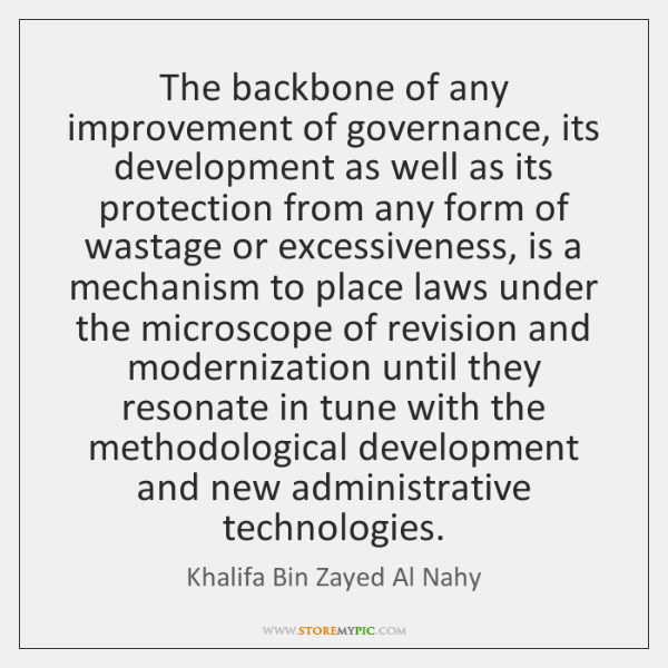 The backbone of any improvement of governance, its development as well as ...