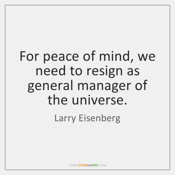 For peace of mind, we need to resign as general manager of ...