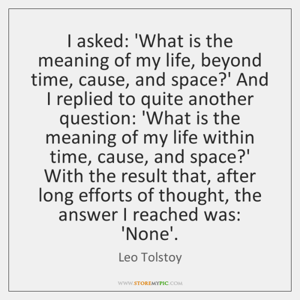 I asked: 'What is the meaning of my life, beyond time, cause