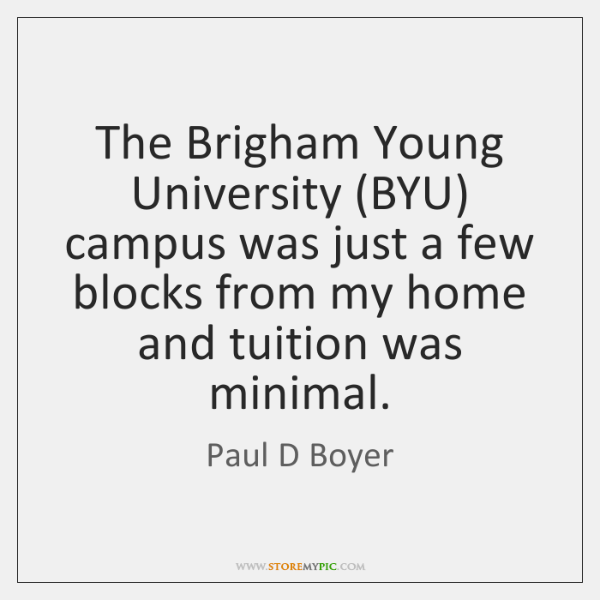 The Brigham Young University (BYU) campus was just a few blocks from ...