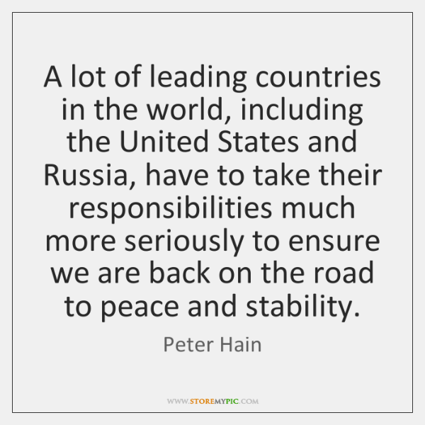 A lot of leading countries in the world, including the United States ...