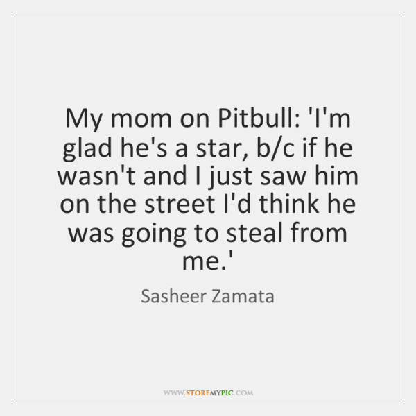 My mom on Pitbull: 'I'm glad he's a star, b/c if ...