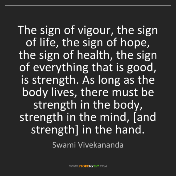Swami Vivekananda: The sign of vigour, the sign of life, the sign of hope,...
