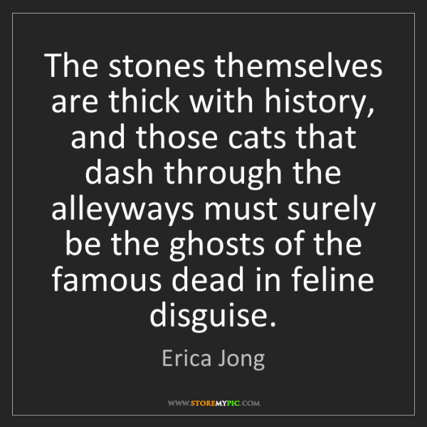 Erica Jong: The stones themselves are thick with history, and those...