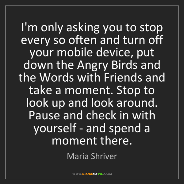 Maria Shriver: I'm only asking you to stop every so often and turn off...