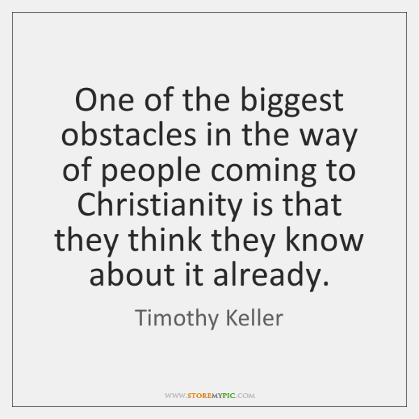 One of the biggest obstacles in the way of people coming to ...