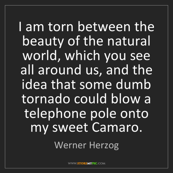 Werner Herzog: I am torn between the beauty of the natural world, which...