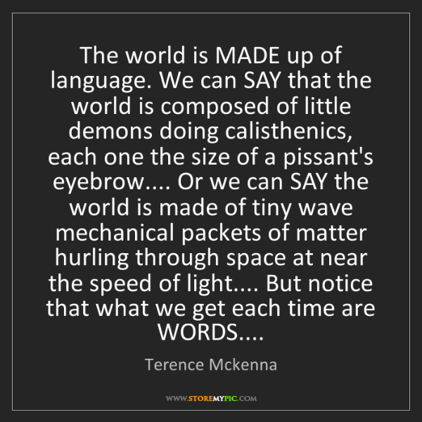 Terence Mckenna: The world is MADE up of language. We can SAY that the...