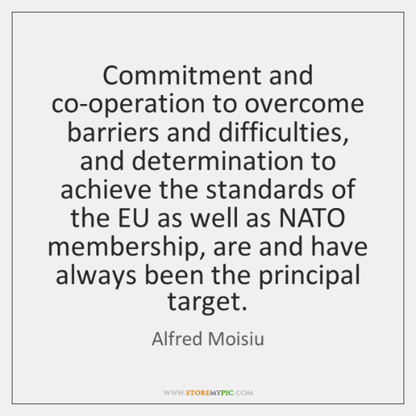 Commitment and co-operation to overcome barriers and difficulties, and determination to achieve ...