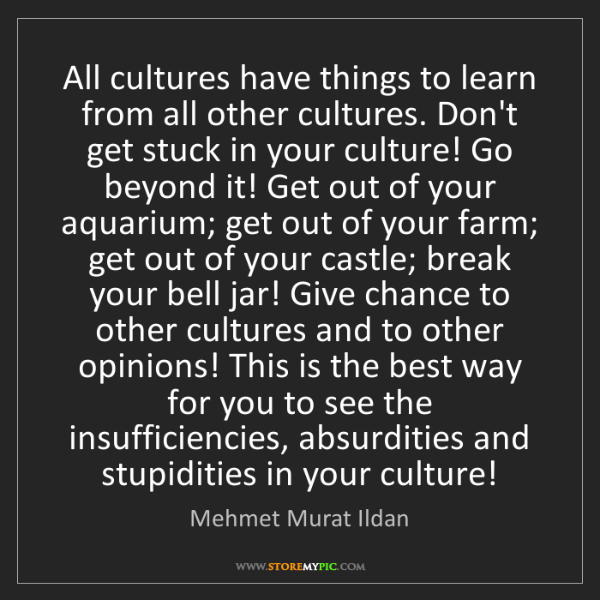Mehmet Murat Ildan: All cultures have things to learn from all other cultures....